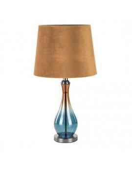 Lampa stołowa HOLY na podstawie łączącej cieniowane szkło i metal z welwetowym abażurem